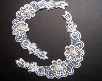 Embellished Beaded Flower Bridal Applique, White, x 2, For Bridal, Romantic, Victorian, Gothic Projects