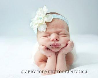 The Aqua ivory Headband, Newborn Headband, Baby Girl Flower Headband, Photography Prop