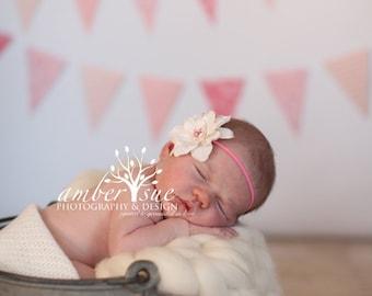 Rose and Ivory Silk Baby Flower Headband, Newborn Headband, Baby Girl Flower Headband, Photography Prop