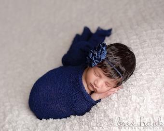 Navy Satin Rhinestone Baby Flower Headband, Newborn Headband, Baby Girl Flower Headband, Photography Prop