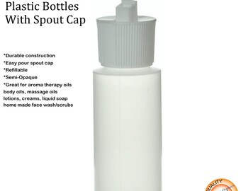 Empty 2oz Plastic Bottles With Spout Caps (Dozen)