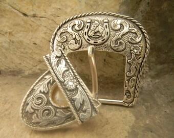 Lucky Horse Shoe Custom Cowgirl Rhinestone Belt Buckle Hardware Belt Buckle Tip and Keeper, Lucky Charm Horse Belt