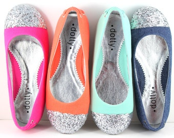Kids shoes - Sparkle- Orange, Sea Blue, Fushia, and Denim Ballet flats  with Glitter Captoe