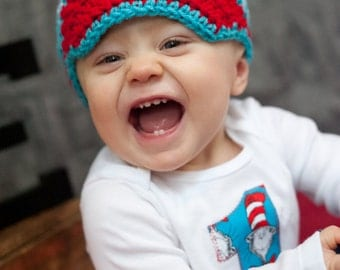 Baby boy Dr. Seuss first birthday outfit, one piece bodysuit and crochet hat set, Cat and the Hat, photo prop