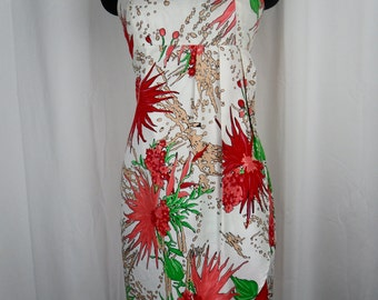 90s custom-made abstract floral summer sun dress /empire waist /wrap front/ spaghetti straps: US size small 6-8