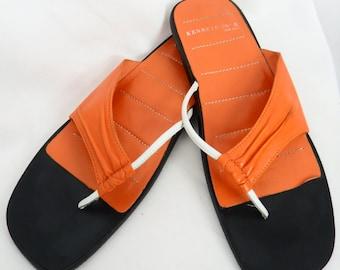 90s modern asymmetrial orange thong sandals all leather avant garde Kenneth Cole: size US 8.5/EU 39