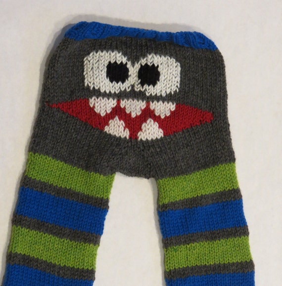 RESERVED LISTING for CHRISTI - Monster Longies - hand knit- soaker pants
