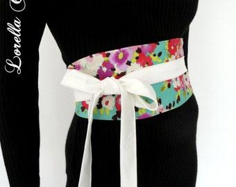 "Reversible Obi Belt ""Prunelle"", colourful flowers on a mint base, oriental, waist clencher by Lorella Créations / Funky Bags 'n Bibs"