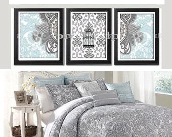 Damask Bird Wall Art Prints Blue Greys Wall Art Set of (3) 5x7 Prints - (UNFRAMED) Custom Colors Sizes Available