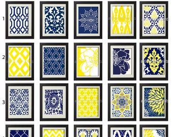 Yellow Navy White Art Prints -Pick Any  (2) Prints, Any Color - 8x10 Prints - Custom Colors Sizes Available (UNFRAMED)