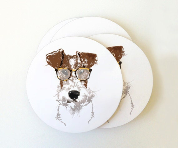 Fox Terrier Portrait Coaster Set