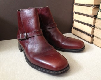 1970s Brown Leather Boots Made in USA by Roblee Monk Strap Belted Ankle Boots Size 8 D