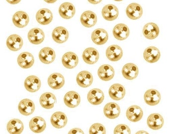 100 Gold Plated Round Smooth Beads - 3mm - Gold Spacer Bead (01091)