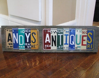 License Plate Sign - business sign - made to order  -Vintage License Plates- license plate decor- father day gift- garage art- office decor