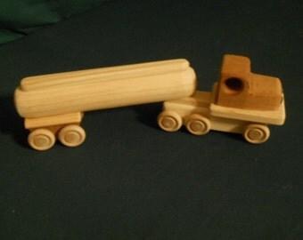 Handmade wooden tanker truck