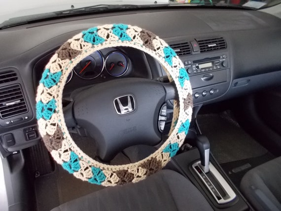 Crochet Steering Wheel Cover Wheel Cozy Oatmeal Aqua Taupe