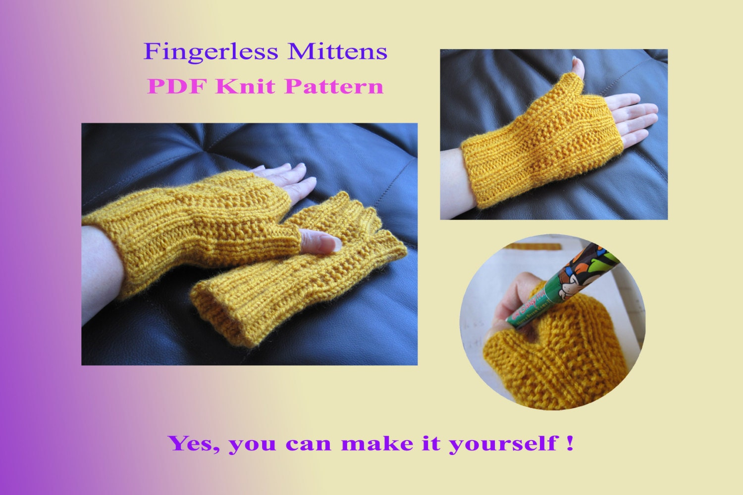Knit Pattern Fingerless mittens 32VC2012