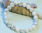 White Howlite 8mm beaded gemstone stretch, stacking, healing, girls, boys,baby, unisex bracelet  SSB010