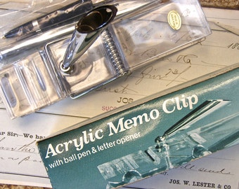 Acrylic Memo Clip, Vintage Desk Accessory, Retro Office Decor, Letter Opener, Giant Paper Clip,  Paperweight, Desk Pen Set, New Old Stock