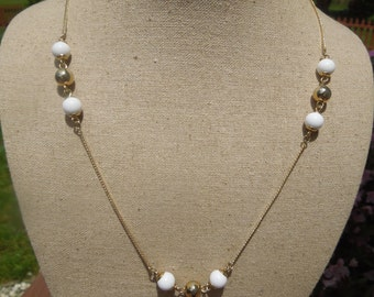 Vintage Necklace, Fine Gold Tone with Gold Tone and White Beads, 23 Inches