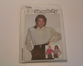 Vintage Simplicity Pattern 7766 Miss Loose Fitting Shirt