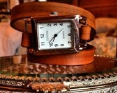 Leather Triple Wrap Watch Rectangle Face