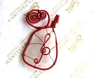 Music pendant, wire wrapped pendant, red copper wire, Birthday gift genuine sea glass pendant, genuine sea stone, beach stone pendant