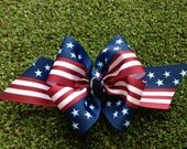 Red White and Blue US Heart Flag Corker Ribbon Bows-4th Of July-Fourth Of July-Baby Girl Hair Bow, Toddler, Child, Adult,Barrette Accessory