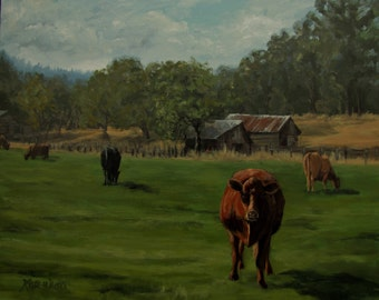 No Hurry - Large Original Rural Ranch Barn and Cow Painting