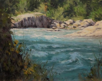 Shady River - Original River Landscape Painting