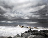 Nature Photography - Impending Storm - Fine Art Beach Photograph - Ocean Storm - Stormy waves photo Sea Bright
