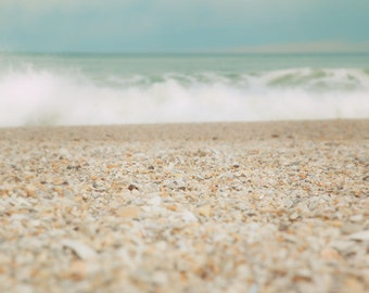 Ocean Print, Sand, Seashells, waves, surf, seaside, seascape, Jersey Shore, Shore decor