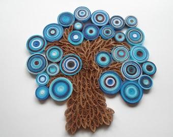 Blue tree wall hanging Abstract tree wall art Paper tree wall decoration
