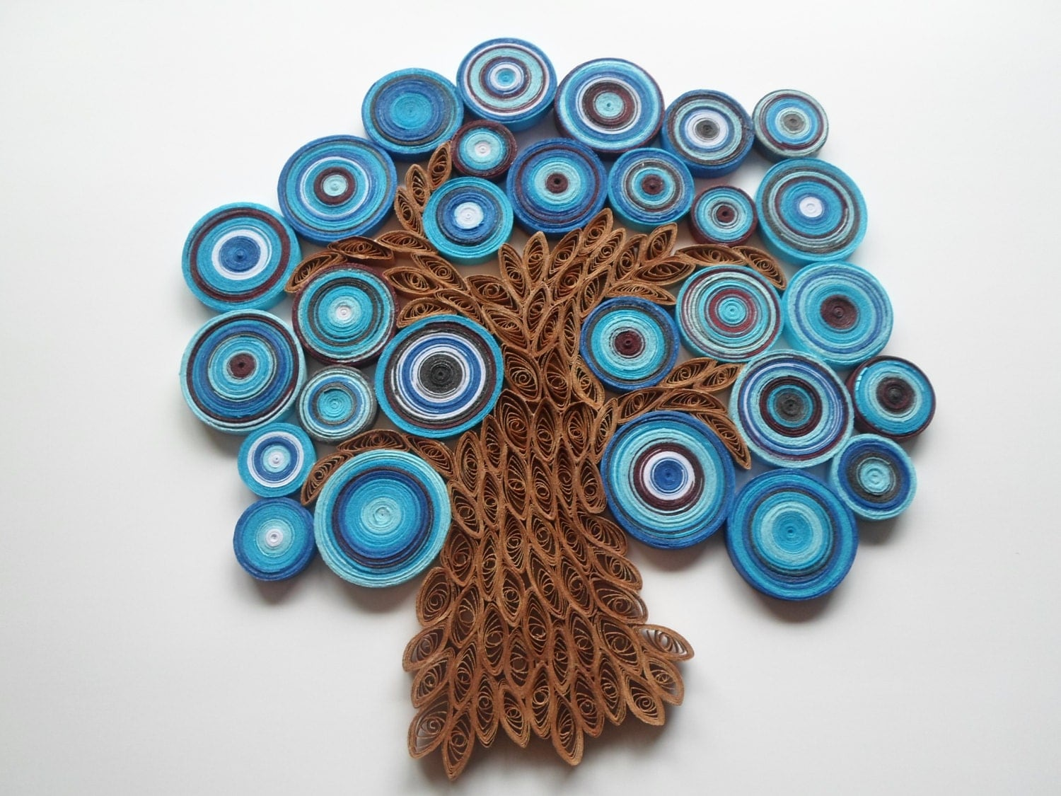 Blue tree wall hanging abstract tree wall art paper tree wall for Decoration quilling