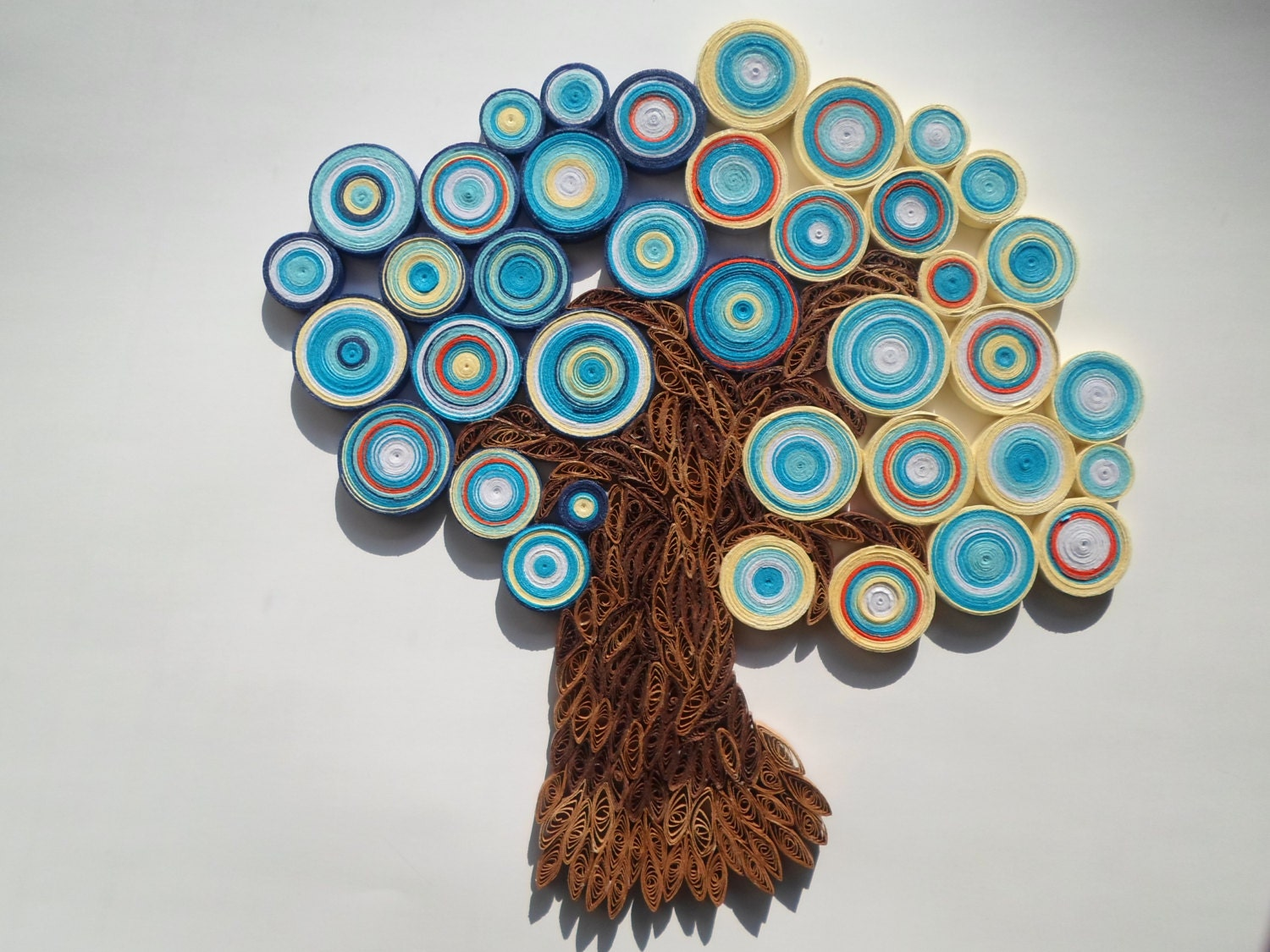 Tree Wall Hanging Blue Orange Wall Decor Abstract Tree Home