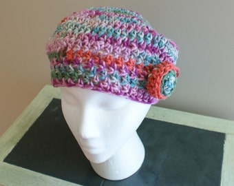 Blue Crochet Hat, Womens Beret, Spring Tam, Spring Fashion Hat, Women Beret, Crochet Beret, Spring Beanie, Mom Gift, Womens Cap