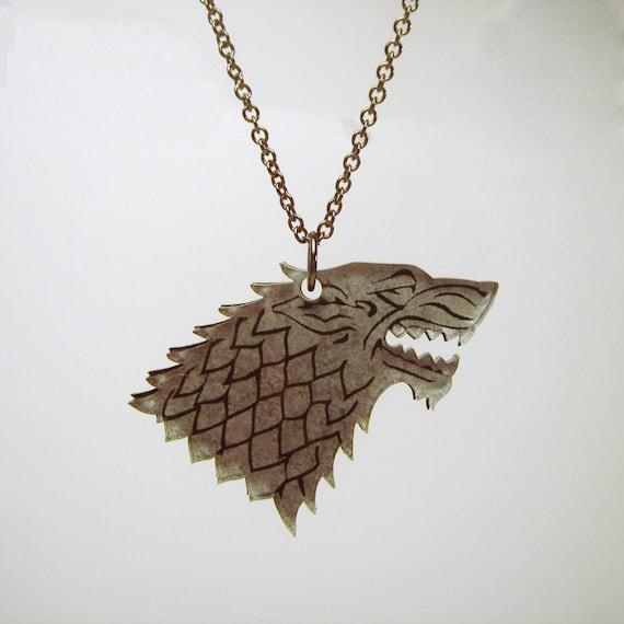 "Game of Thrones inspired Direwolf ""House Stark"" Sigil Pendant -  Laser Cut Acrylic"