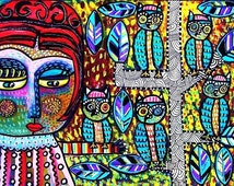 Goddess & The Cactus Owl Tree**- SILBERZWEIG ORIGINAL Art PRINT- Tree Of Life, Talavera, Mexican, Southwestern, Beehive Hairdo, Tribal, Folk