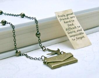Letter Locket Necklace, Envelope Necklace, Friendship Necklace, Bird Necklace, Personalized Necklace, Secret Message