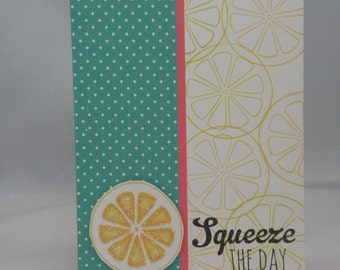 Blank Note Card with Lemon - squeeze the day