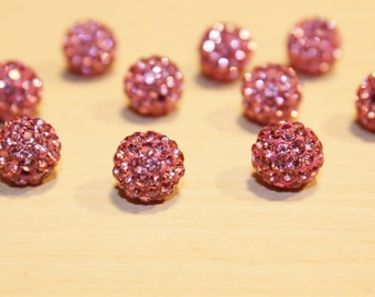 6pc Pink Crystal beads-Basketball wivers