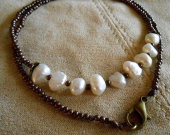 White Fresh Water Pearl Necklace Brass Bead Rustic Wedding Prom Maid of Honor Party Everyday Wear Valentine  Gift trending colors