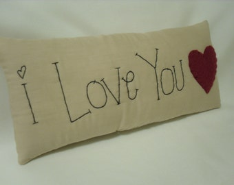 Primitive Pillow - I Love You - 10 x 4.5 Inches