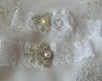 Wedding garter set, Bridal Garter, White lace Garter, Vintage Garter