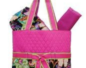 Butterfly Quilted Pink and Multi color  Diaper Bag  3pc Set Large  purse tote bag-NOT PERSONALIZED