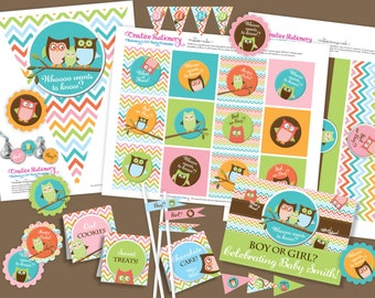 Owl Gender Reveal Shower DIY Party Printables Package. Whoo wants to know...boy or girl. Customized for you.