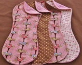 CLEARANCE SALE! Pink Birds in Trees Terry Cloth and Flannel Burp Cloth Set