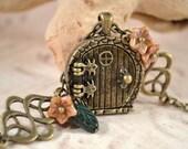 Fairy Door Locket, Garden Door Necklace, Celtic Knot Leaves and Flowers Necklace