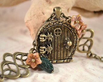 Fairy Door Locket, Garden Door Necklace, Celtic Knot Leaves and Flowers Necklace