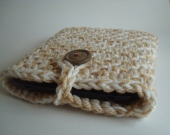 MARKDOWN SALE!!! - Nook Simple Touch cover Case Sleeve Jacket Bag - Kindle Cover - Handmade Crochet - Soft White and Beige